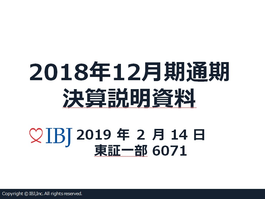 2018年12月期 通期 決算説明資料